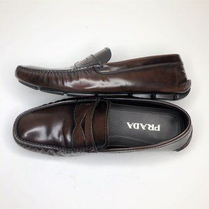 PRADA Penny Loafer Dress Brown Patent Leather